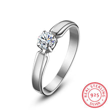 Load image into Gallery viewer, Luxury Female Small Round Stone Ring Real 925 Sterling Silver Engagement Ring Crystal Solitaire Wedding Rings For Women