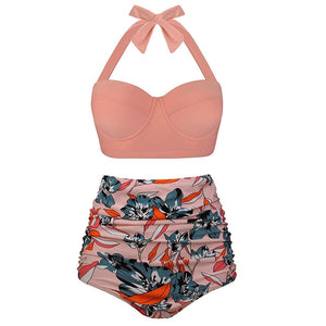 Women Swimsuits Vintage Push Up Polka Dot Plus Size Bathing Suits High Waisted Bikini