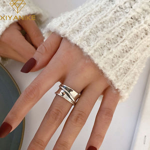 925 Sterling Silver Engagement Rings for Women CouplesCreative Simple Geometric Handmade Party Jewelry Gifts