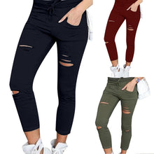 Load image into Gallery viewer, Plus Size Solid Color Drawstring High Waist Pencil Pants Ripped Skinny Leggings High Waist Pencil Pants Ripped Skinny Leggings P