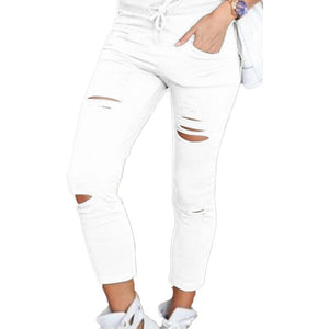 Plus Size Solid Color Drawstring High Waist Pencil Pants Ripped Skinny Leggings High Waist Pencil Pants Ripped Skinny Leggings P