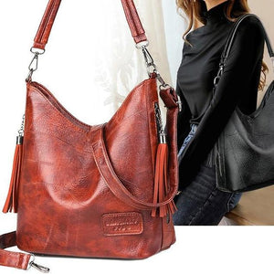 Women Bucket Bag Female Shoulder Bags Large Size Vintage Soft Patchwork Leather Lady Cross Body Handbag for Big Women Hobos Bag