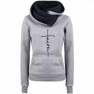 Autumn Winter Hoodies Sweatshirts Women Faith Embroidered Sweatshirt Long Sleeve Pullovers Christmas Casual Warm Hooded Tops
