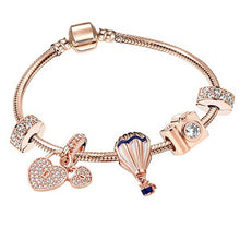 Load image into Gallery viewer, BRACE CO European Heart-shaped Pendant Charm Bracelet Fit Women's Jewellery Snake Chain Rose Gold Metal Fashion Fine Bracelets