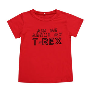 Ask Me About My T Rex Flip T Shirt Kids Funny Shirt Dinosaur Graphic Tee Clothes Fashion Funny Kids  Toddler Plussize