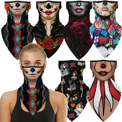 Female Witch Woman Halloween Rose Butterfly Vampire Horror Cosplay Face Mask Neck Scarf Masks Bandana Headband Balaclava