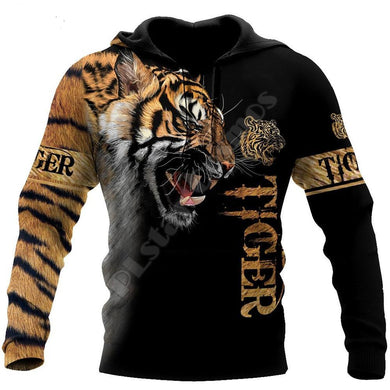 Brand Fashion Autumn Hoodies Premium Tiger Skin 3D Printed Mens Sweatshirt Unisex Zip Pullover Casual hoodie