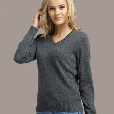 Women Sweater Knitted Female Long Sleeve V-neck Cashmere Sweater And Pullover Female Autumn Winter Slim Jumpers Casual