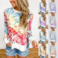 Tie Dye Women Clothes 2020 Autumn Fashion Patchwork Long Sleeve T Shirt Women Tops Tee O-Neck Aesthetic Top Female Graphic tees