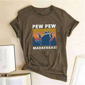 Pew Pew Madafakas Print T-shirts Women Summer 2020 Graphic Tees Funny Shirts for Women Loose Crew Neck Harajuku Tops for Teens
