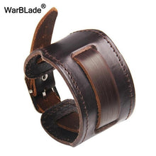 Load image into Gallery viewer, WarBLade New Fashion Men Wide Genuine Leather Bracelet Brown Wide Cuff Bracelets & Bangles Vintage Punk Wristband Men Jewelry