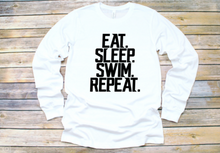 "Load image into Gallery viewer, STAR Youth Long Sleeve Shirt ""Eat. Sleep. Swim. Repeat."""