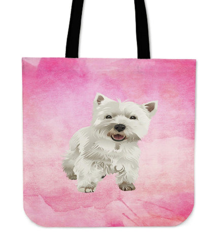 Adorable Westie Tote Bag - Pink Tote Bag One Gear Stop Westie Tote Bag