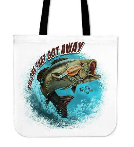 Bass Fish The One That Got Away Blue Tote Bag One Gear Stop