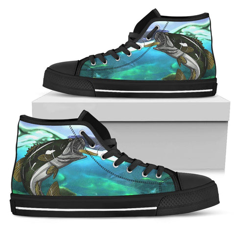 Canvas Bass Fish Shoes Women's High Top One Gear Stop
