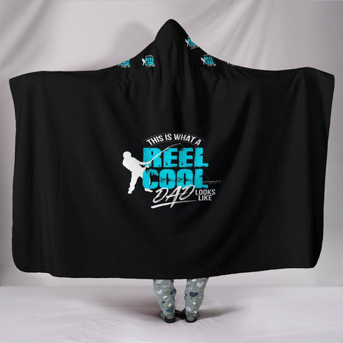 "Customised Hoodie Blanket-Reel Dad Loves Fishing One Gear Stop Hooded Blanket Youth 60""x45"""