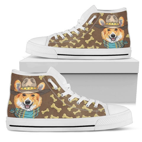 Cute Corgi Women's High Top Shoes One Gear Stop