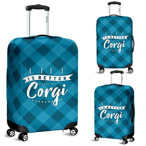 Life is better with my Corgi - Luggage Cover Luggage Covers One Gear Stop