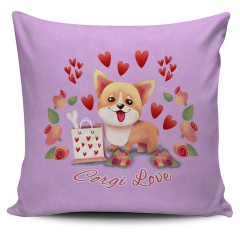 Pink Corgi Love Pillow Cover Set Pillow Covers One Gear Stop