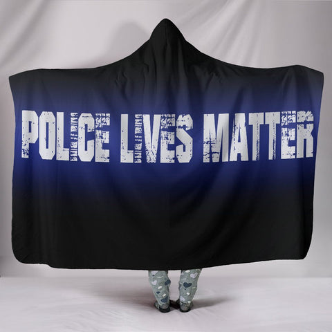 "Police Lives Matter Hoodie Blanket One Gear Stop Hooded Blanket Youth 60""x45"""