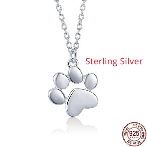Premium Dog Paw Print Necklace Jewelry One Gear Stop Sterling Silver 2 China