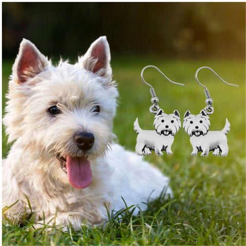 Westie Charm Earrings Jewelry One Gear Stop