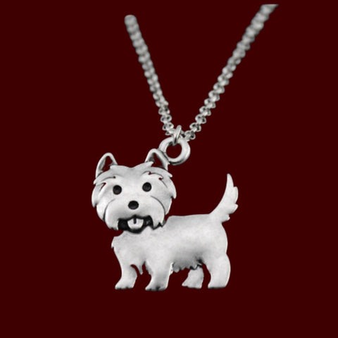 Westie Dog Charm Necklace Jewelry One Gear Stop Left Necklace 45cm