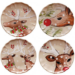 Casafina Dinner Plates Casastone - Deer Friends (df601-lin)