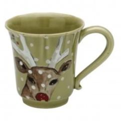 Casafina Mugs Deer Friends Green Coffee Cup (df609-grn)
