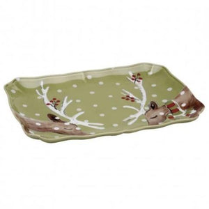 Casafina Serving Pieces Deer Friends Rectangle Platter (df620-grn)