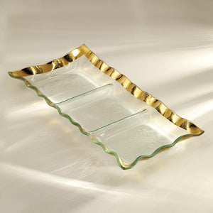 Annie Glass Serving Pieces Three Section Tray-Gold 15x 6 3/4""