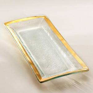 "Annie Glass Serving Pieces Roman Antique Appetizer Tray Gold 13 1/2x 6"" (g214)"