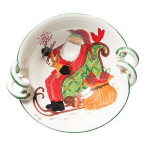 Vietri Serving Pieces Old St. Nick Scallop Handled Bowl With Sleigh (OSN-78052)