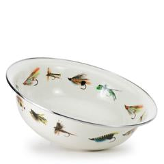 Golden Rabbit Enamelware Fly Fishing Serving Bowl