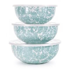 Golden Rabbit Enamelware Large Aqua Swirl Mixing Bowls (gl54)