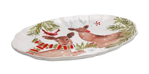 Casafina serving pieces Deer Friends Large Oval platter (DF622-WHT)