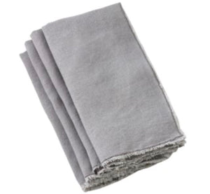 Saro Napkins, Towels, Table Runners, & Placemats Fringed Edge Grey Napkin (13009.gy20s)