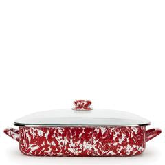 Golden Rabbit Enamelware Red Swirl Lasagna Pan with Lid (rd15)