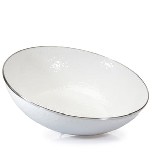 Golden Rabbit Enamelware White Catering Bowl (ww18)