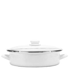 Golden Rabbit Enamelware White Large Sauté Pan (ww80)