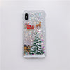 I-phone case christmas tree painted glitter sand shell