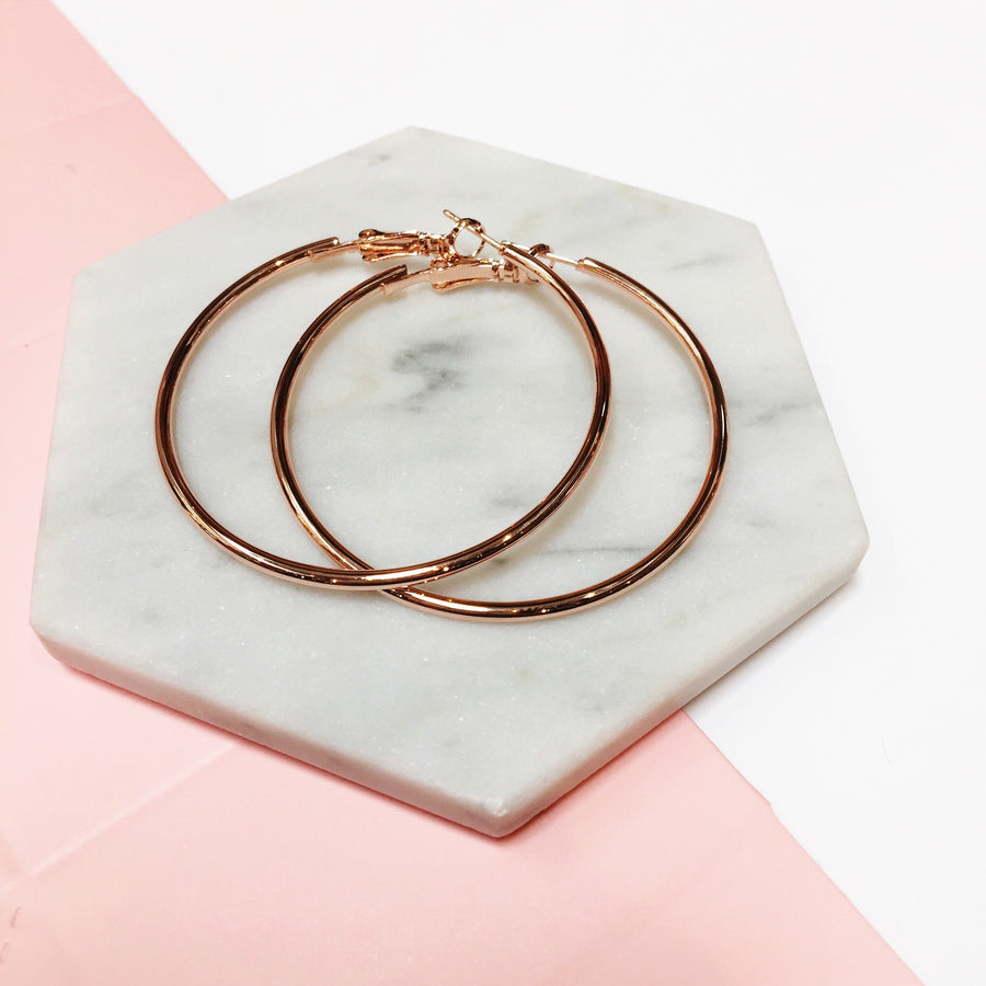 Rose Gold 50mm Hoop Earrings