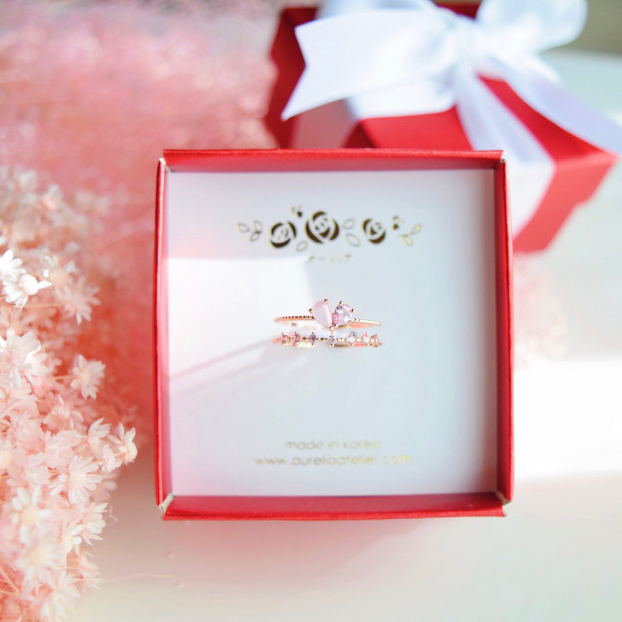 Rose Gold Ring Korea Made Earrings Cubic Zirconia Stone 925 Silver Daily Wear Stylish Cincin Adjustable Jewellery Perfect Surprise Gift For Your Loved One