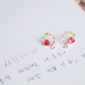 Ruby Anemone Earrings