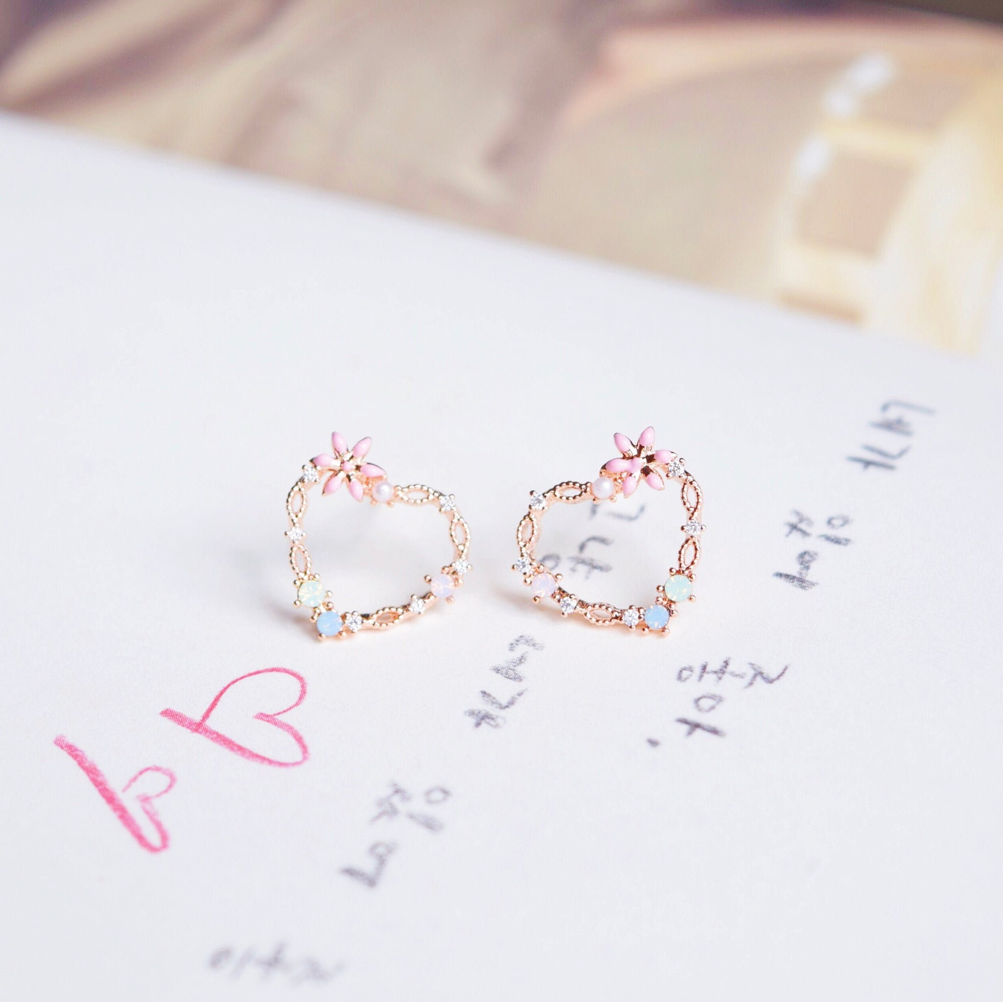 Rose Gold Love Encyst Earrings