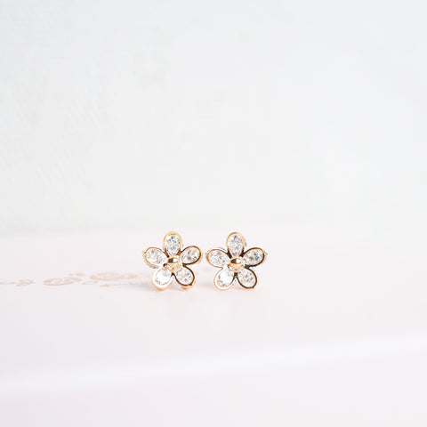 Gold Korea Made Earrings Petite Stud Cubic Zirconia 925 Silver Daily Wear Anting-Anting Korean Fashion Stylish Resin Clip On Earrings Can Wear to Shower Earrings