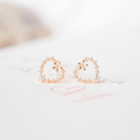 Made in Korea Rose Gold Earrings Korean Anting Cubic Zirconia Bride Bridal Dinner 925 Sterling Silver Accessory Fashion Fancy Stylish Costume Jewellery Online Malaysia Shopping Trendy Accessories Daily Wear Jewelry Dainty Minimalist Delicate Clip On Earrings No Piercing Special Perfect Gift From Heart For Your Loved One