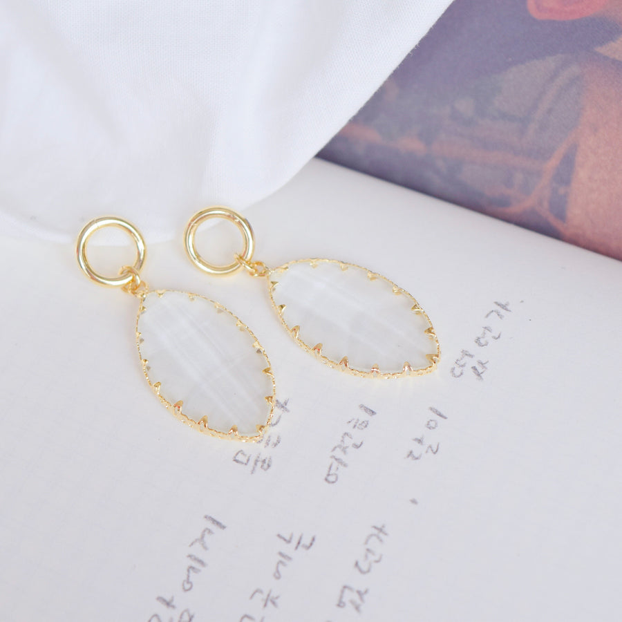 Made in Korea Earrings Korean Anting Gold Glass Crystal Bride Bridal Dinner Titanium Accessory Fashion Fancy Stylish Jewellery Online Malaysia Shopping Trendy Accessories Daily Wear Jewelry Dainty Minimalist Delicate Clip On Earrings No Piercing Special Perfect Gift From Heart For Your Loved One