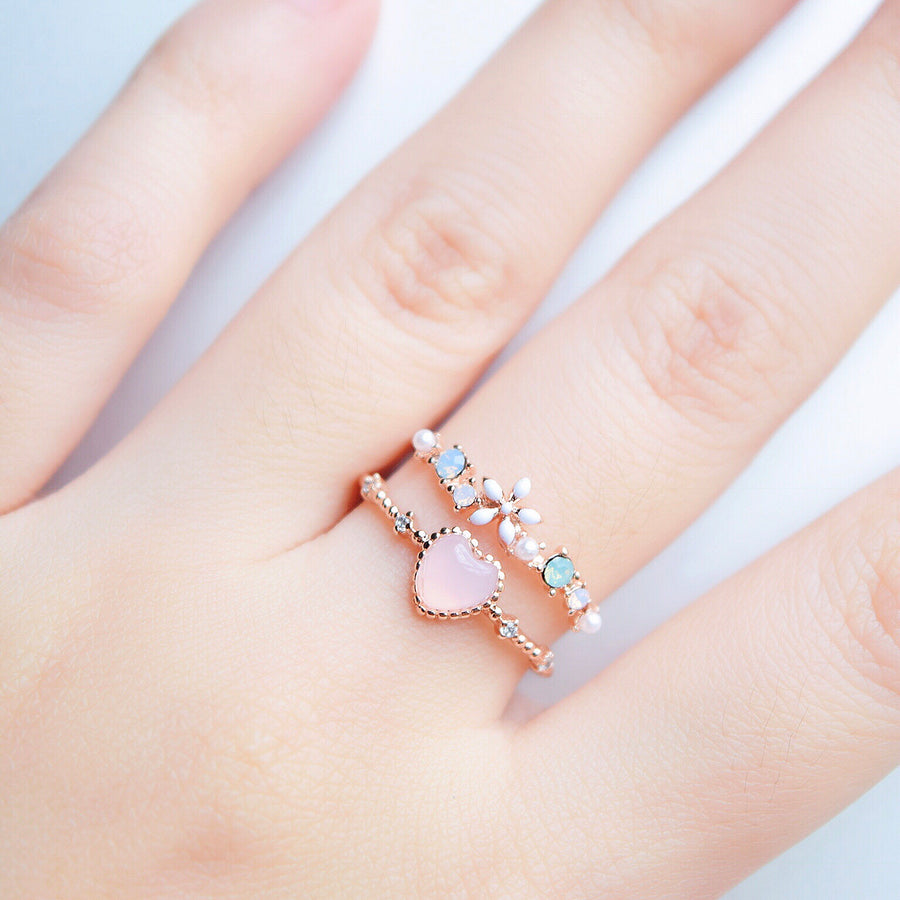 Rose Gold  Ring Korea Made Earrings Cubic Zirconia Stone 925 Silver Daily Wear Cincin Adjustable Jewellery Surprise Gifts For Your Girlfriend
