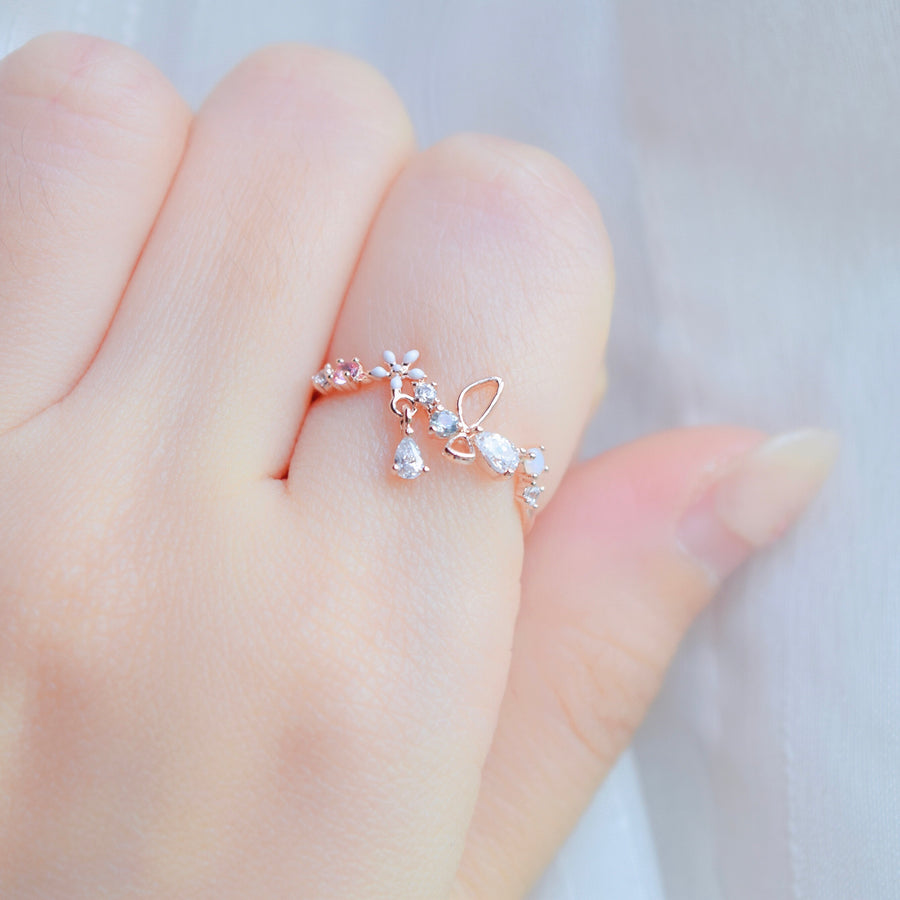 Rose Gold Ring Korea Made Earrings Cubic Zirconia Stone 925 Silver Daily Wear Cincin Adjustable Gift For Her Surprise